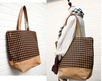 Large zipped tote,Houndstooth Woolen tote,office bag,school bag,,travel bag ,weekender,shopping tote