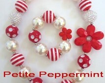 Girls Chunky Necklace,Red and White Girl Necklace Set,Baby Chunky necklace,Girl Bubble Gum Bead Necklace,Baby Necklace Set,Children necklace