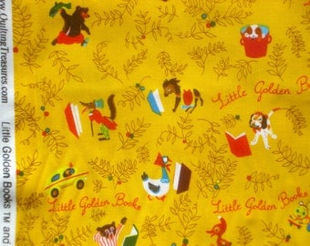 Little Golden Books gold Quilting Treasures fabrics FQ or more OOP HTF