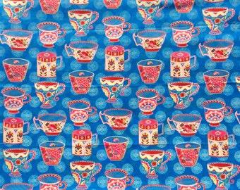 Trade Winds Teacups macaw blue Lily Ashbury moda fabric FQ