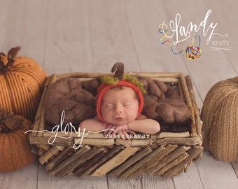 Newborn photo prop, Newborn baby pumpkin bonnet. Newborn photo prop. Mohair