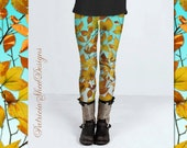 Maine Autumn Leaves Ankle Spandex Leggings colourful patterned yoga ski active wear textile design by Maine artist Patricia Shea