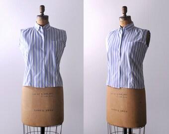 50 striped blouse. sleeveless. 1950's light blue top. white. pocket. 50's l blouse.