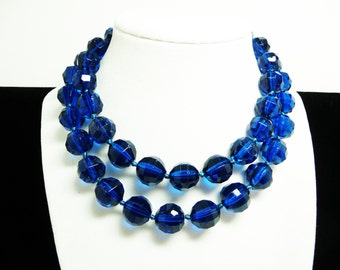"Art Deco Glass Bead Necklace - Large Faceted Crystal Glass Beads - Dark Translucent Blue - Hand Knotted Beaded Necklace - 28"" Opera Length"