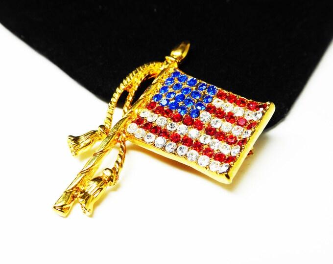 Signed Rhinestone Flag Pin - The United States of America Flag - Red White & Blue Rhinestones - Signed Cote