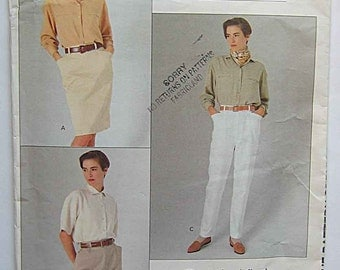 Designer Calvin Klein Misses' Easy to Sew Classic Skirt, Shorts, Pants, Vintage Vogue 2472 Sewing Pattern UNCUT Sizes 12-14-16