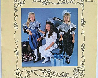RARE Vintage 90's Heirloom Susan York Designs Pattern Victorian Collar Collection with Party Pants No. 10690, UC Girls Size 7-10 OR 12-16