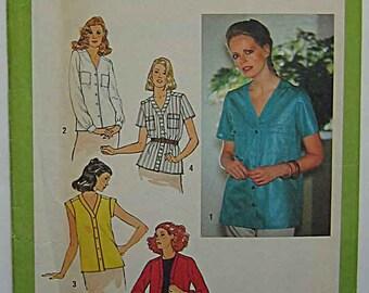 Vintage 70's Misses' Shirt, Blouse, Tops Simplicity 9065 Sewing Pattern UNCUT Size 10