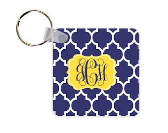 Moroccan Print Personalized Square, Round or Rectangle Key Chain
