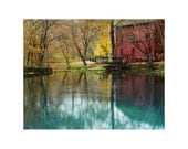 Fine Art Color Photography of the Old Red Mill at Alley Spring in Autumn