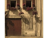"""Fine Art Sepia Photography of French Scene - """"Flowers and Shutters in Beaune"""""""