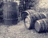 "Fine Art Black & White Photography of French Wine Barrels - ""Loire Wine Barrels"" (France)"