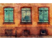 Fine Art Color Architecture Photography of a Three Shutters in Colmar France - Grunge Style Print