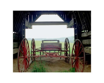 Fine Art Color Rural Americana Photography of an Old Wagon in a Barn in Appalachia in the Smoky Mountains