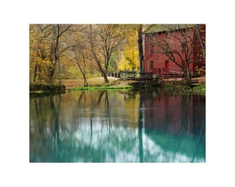 Fine Art Color Rural Americana Photography of the Old Red Mill at Alley Spring in Autumn