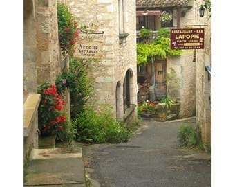 """Fine Art Color Travel Photography of French Village in Southern France - """"Quiet Lane in St Cirq Lapopie"""""""