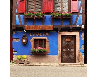 Fine Art Color Travel Photography of Blue Home in Niedermorschwihr France