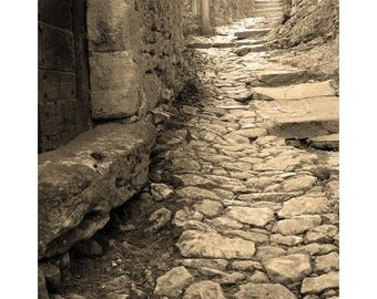 """Fine Art Sepia Photography of Medieval Village in France - """"Ascent in Beynac"""""""