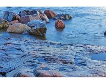 Fine Art Color Photography of Rocks Along the Baltic Sea Coast of Suomenlinna Island in Finland