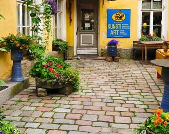 Fine Art Color Photography of a Cafe Courtyard in Tallinn Estonia