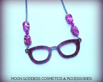 Nerd Girl Glasses Necklace