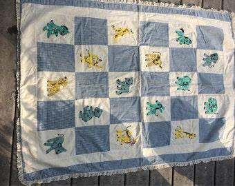 Vintage Child's Blanket Baby Quilt Sweet Child's Coverlet  / Nursery Decor / Barn Yard Animals Appliqued Animals Hand Done Coverlet Nursery
