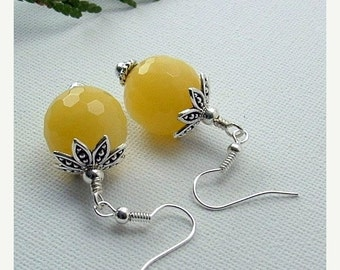 20% Off Sale Yellow Stone Earrings On Sterling Silver Ear Wires