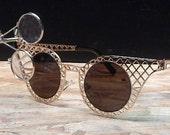 STEAMPUNK GOTH GLASSES - Gold-Look Criss Cross Metal Mesh Framed w/Removable Jewelers Magnifying Eye Loupes