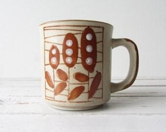Vintage Stoneware Coffee Mug Earthtone Colors