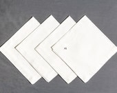 Vintage Napkins, Heavy white cotton, 19 inches square, Damask, William Morris looking, very crisp Total of 4