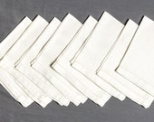 Vintage Napkins, Heavy white linen, 16 inches square, Damask design of mums or hydrangias Total of 8