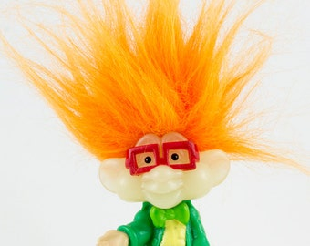 Vintage Troll Doll, Flourescent Orange Hair, Red framed glasses, I Q troll for Burger King, Beadie black eyes