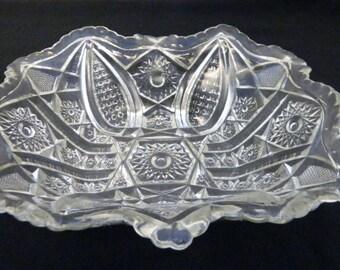 Indiana Glass Paneled Daisy & Fine Cut Rectangular Salad Serving Bowl Crimped