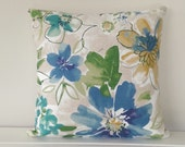 Cushion Cover: Blue Floral Linen
