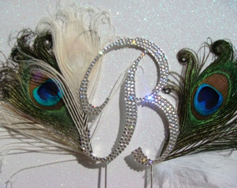 Swarovski crystal peacock cake topper / wedding cake topper / peacock wedding crystal cake topper rhinestone feathers