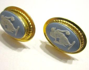 Blue White Jasperware Wedgewood Earrings Van Dell Gold Filled Screw Back