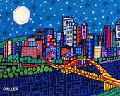 Pittsburgh Art Poster Print Painting by Heather Galler City Cityscape Bridge PA Skyline