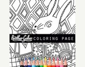 50% Off- White Rabbit Alice In Wonderland coloring, coloring book, adult coloring book, coloring pages, coloring book for adults