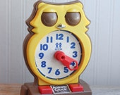 1975 Tomy Answer Clock, Learn to Tell Time Toy, Owl Clock Toy, 1970s Retro Learning Toy, Preschool Kids, Elementary Students Tell Time,