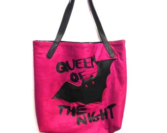 HALLOWEEN Handmade Leather Bat Tote - Queen of the Night