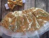 Gold Sequin Skirt Satin Lined Sequin holiday Skirt Birthday outfit Sparkle Skirt Baby Girl Sequin Glitter Skirt gold birthday outfit