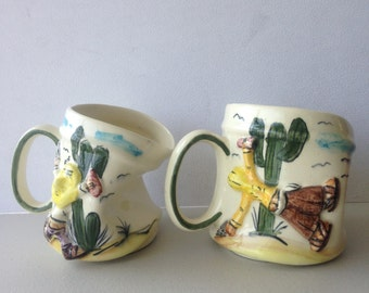 2 Vintage  Ceramic  Mexican Twisted Cup or Mug