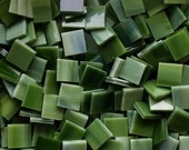 """100 1/2"""" Olive Stained Glass Mosaic Tiles"""