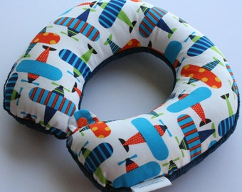 Child Travel Neck Pillow - Airplanes w/ Navy Blue Minky