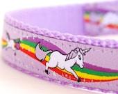 Magical Unicorns Dog Collar, Lavender Dog Collar, Rainbow Pet Collar, Girl Adjustable Ribbon Collar