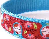 Matryoshka Girl Dog Collar, Russian Stacking Dolls, Adjustable Pet Collar, Red Dog Collar