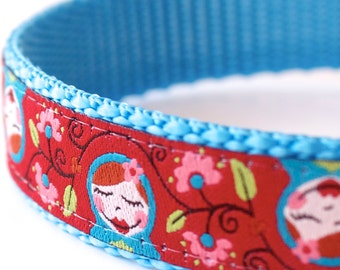 Matryoshka Girl Dog Collar, Russian Stacking Dolls, Adjustable Pet Collar, Red Dog Collar
