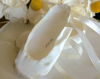 Ivory Satin Ballet Slippers - Baby Girl Shoes, Toddler Girl - Flower Girl Shoes - Christening Shoes