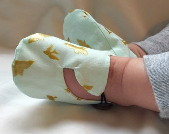 Aqua and Metallic Gold Bird Baby Shoes, Soft Sole Baby Shoes, Modern Baby Booties, Toddler Slippers