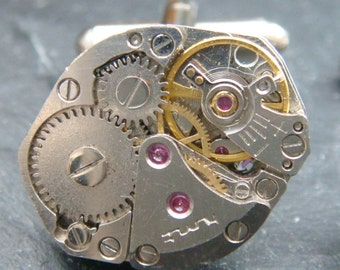 Stunning oval industrial  watch movement cufflinks ideal gift for a wedding, birthday or anniversary